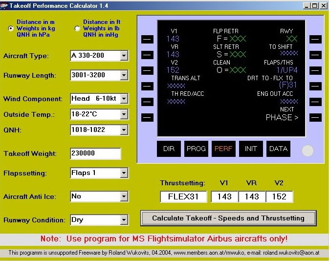 Popular calculator to calculate takeoff parameters in / from